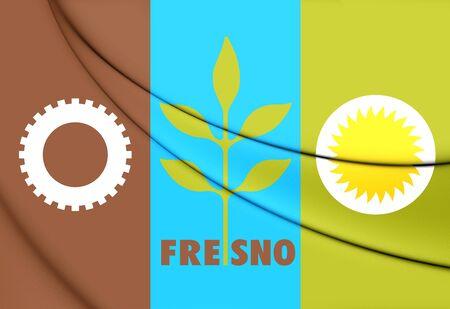 3D Flag of Fresno City (California), USA. 3D Illustration.