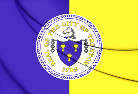 jersey city: Flag of Trenton City (New Jersey), USA. 3D Illustration.