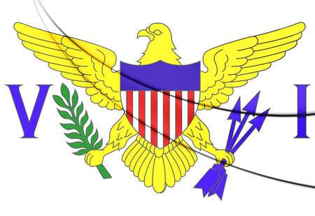 virgin islands: Virgin Islands of United States Flag. 3D Illustration.