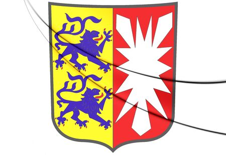 holstein: 3D Schleswig-Holstein Coat of Arms, Germany. 3D Illustration.