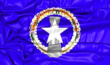mariana: Flag of Northern Mariana Islands. 3D Illustration.