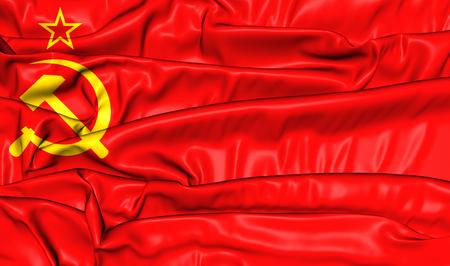 socialist: Flag of the Soviet Union (1923-1955). 3D Illustration.