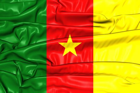 cameroon: Flag of Cameroon. 3D Illustration.