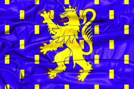 region: Flag of Franche-Comte Region, France. 3D Illustration. Stock Photo