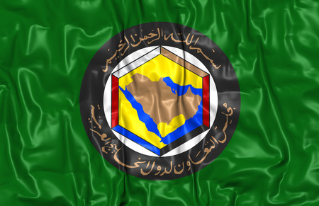 gcc: Cooperation Council for the Arab States of the Gulf Flag. 3D Illustration.