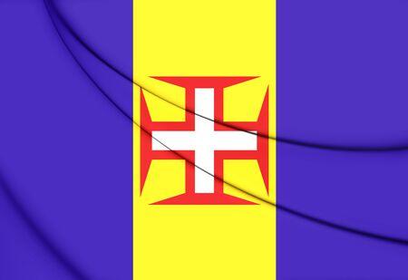 madeira: Flag of Madeira. 3D Illustration.