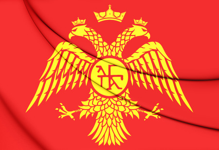 roman empire: Byzantine Eagle, Flag of Palaiologos Dynasty. 3D Illustration. Stock Photo