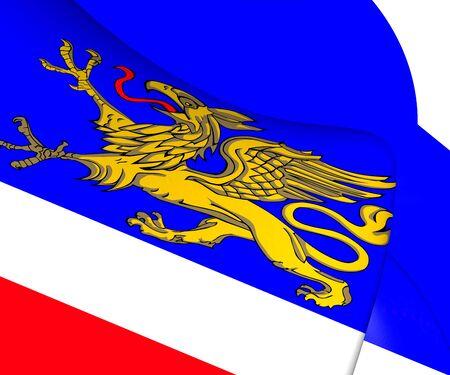 3d flag: 3D Flag of Rostock, Germany. 3D Illustration.