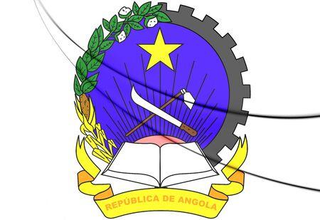 ngola: Angola Coat of Arms. 3D Illustration.
