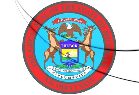 State Seal of Michigan, USA. 3D Illustration.