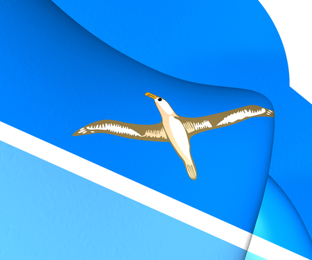 3D Flag of Midway Islands. 3D Illustration. Фото со стока - 61797138