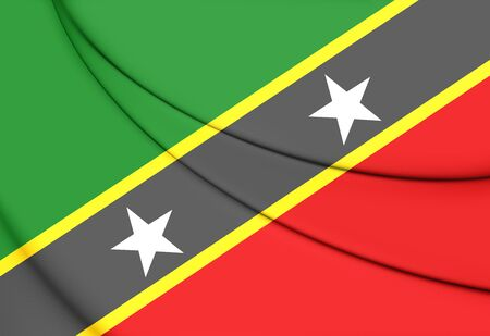 the federation: Federation of Saint Kitts and Nevis Flag. 3D Illustration.
