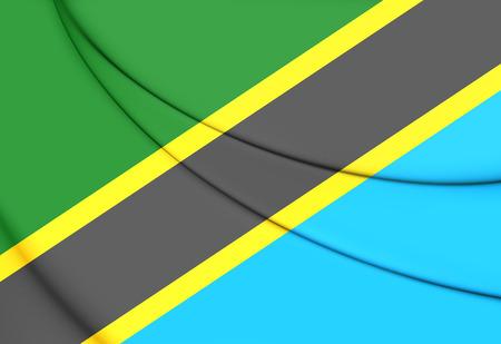 tanzania: Flag of Tanzania. 3D Illustration. Stock Photo