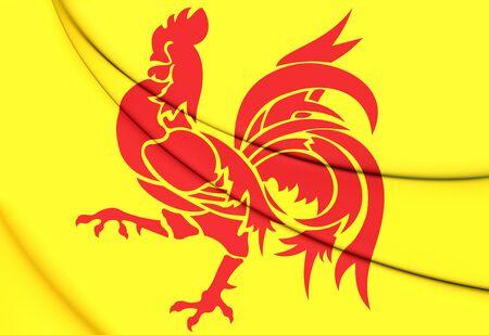 region: Flag of Wallonia Region, Belgium. 3D Illustration.