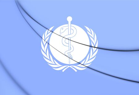 3d  illustration: Flag of WHO. 3D Illustration. Stock Photo