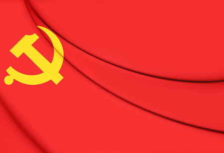 communist: Flag of Chinese Communist Party. 3D Illustration.