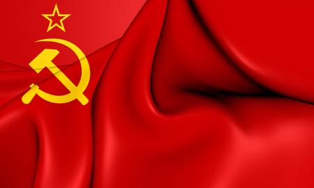communistic: Flag of the Soviet Union (1923-1955). 3D Illustration.