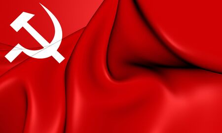 south asian: Communist Party of Nepal Flag. 3D Illustration.
