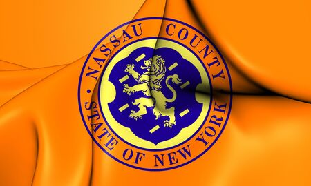 Flag of Nassau County (New York), USA. 3D Illustration.