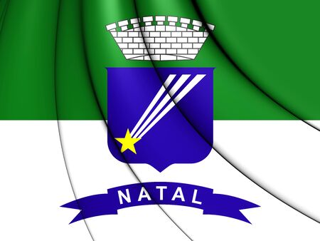 natal: Flag of Natal, Brazil. 3D Illustration.