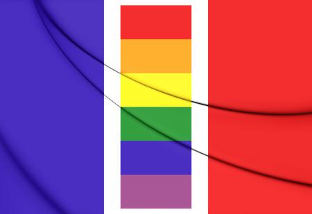 bandera gay: Francia Bandera Gay. Ilustración 3D. Foto de archivo
