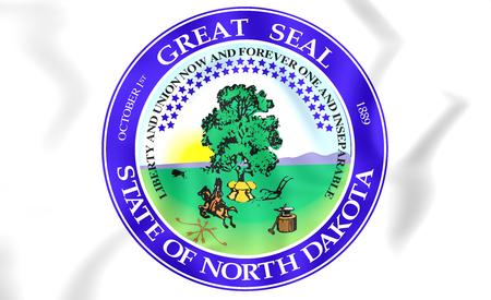 dakota: North Dakota Seal, USA. 3D Illustration.