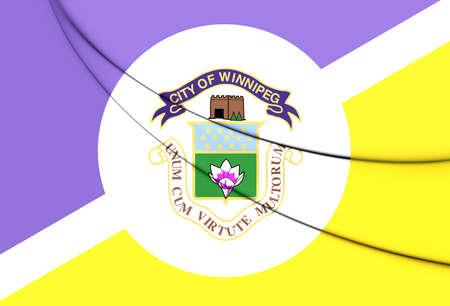 winnipeg: Flag of Winnipeg, Canada. 3D Illustration. Stock Photo
