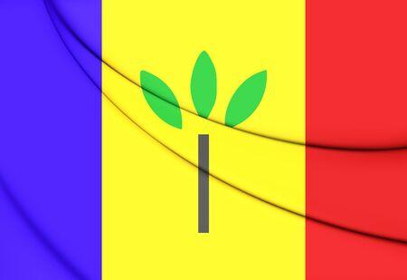 limburg: Flag of Landgraaf, Netherlands. 3D Illustration. Stock Photo