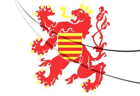 limburg: Flag of Limburg Province, Belgium. 3D Illustration.