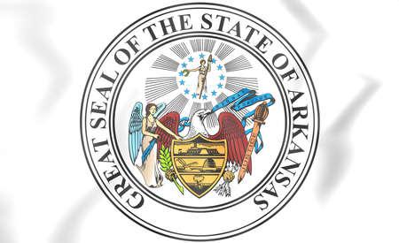 arkansas: State Seal of Arkansas, USA. 3D Illustration.