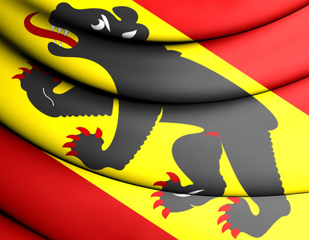 canton: Flag of Bern Canton, Switzerland. 3D Illustration.