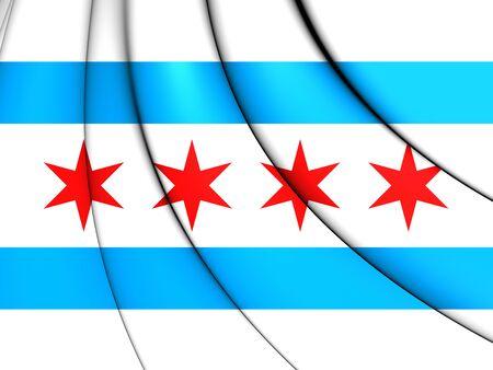 Flag of Chicago, USA. 3D Illustration.