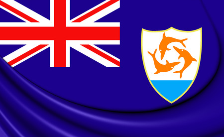 anguilla: Flag of Anguilla. 3D Illustration. Stock Photo