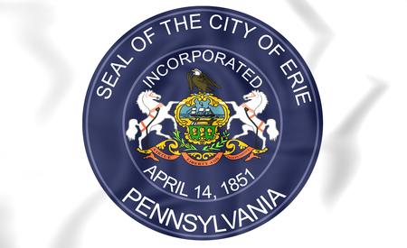 town of erie: Seal of Erie (Pennsylvania), USA. 3D Illustration.