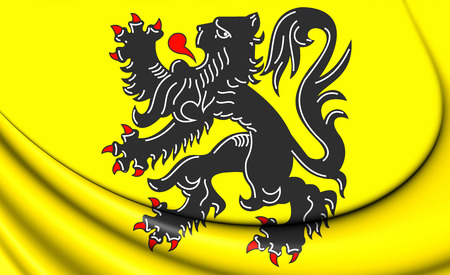 flanders: Flag of Flanders Region, Belgium. 3D Illustration.
