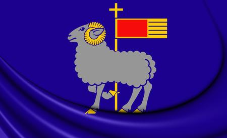 Flag of Gotland County, Sweden. 3D Illustration.
