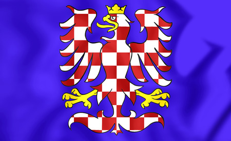 Flag of Moravia, Czech Republic. 3D Illustration.