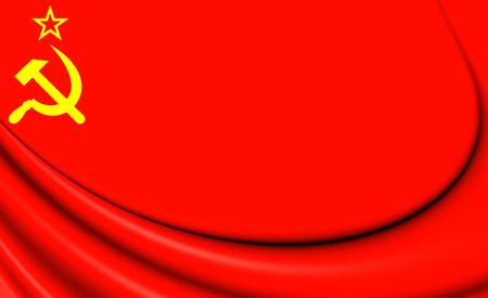 communistic: Flag of the Soviet Union. 3D Illustration.