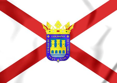 spainish: Flag of Logrono (La Rioja), Spain. 3D Illustration.