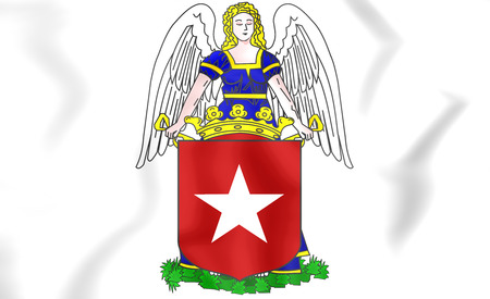 limburg: Maastricht Coat of Arms, Netherlands. 3D Illustration. Stock Photo