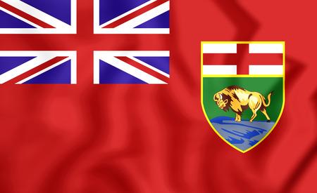 manitoba: Flag of Manitoba, Canada. 3D Illustration.