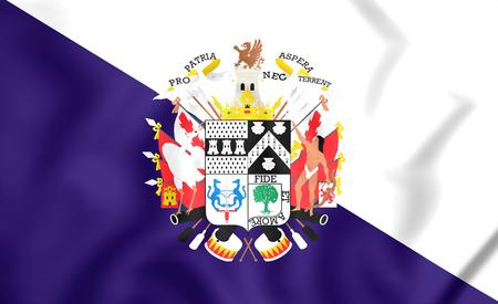 bandera chilena: Bandera de Osorno, Chile. Ilustración 3D.