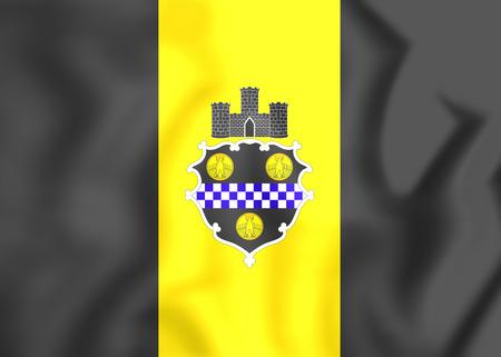 allegheny: Flag of Pittsburgh (Pennsylvania), USA. 3D Illustration.