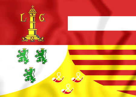 walloon: Flag of Liege Province, Belgium. 3D Illustration.