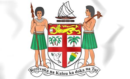 ko: Fiji Coat of Arms. 3D Illustration. Stock Photo