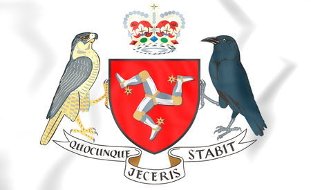Isle of Man Coat of Arms. 3D Illustration.