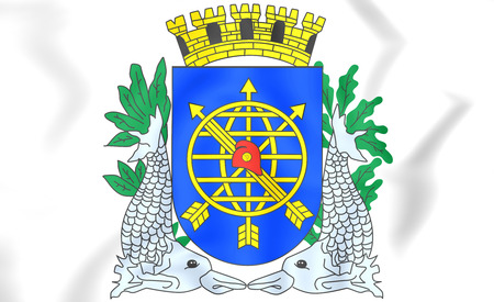 city coat of arms: Rio de Janeiro city coat of arms, Brazil. 3D Illustration.