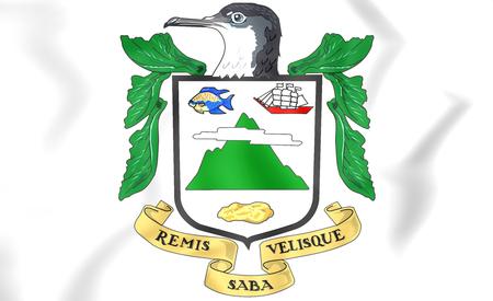 Saba Coat of Arms. 3D Illustration. Stock Photo