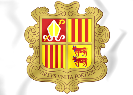 Andorra Coat of Arms. 3D Illustration. Stock Photo