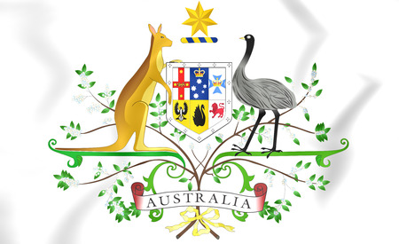 Australia Coat of Arms. 3D Illustration. Stock Photo